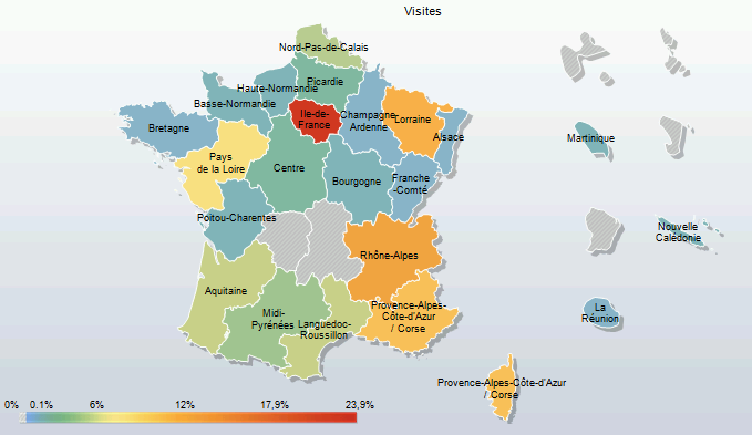 Regions map of France visitors